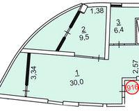 2 комнатная квартира 56.3 кв. м